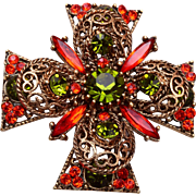 Emmons Orange and Green Maltese Cross Brooch