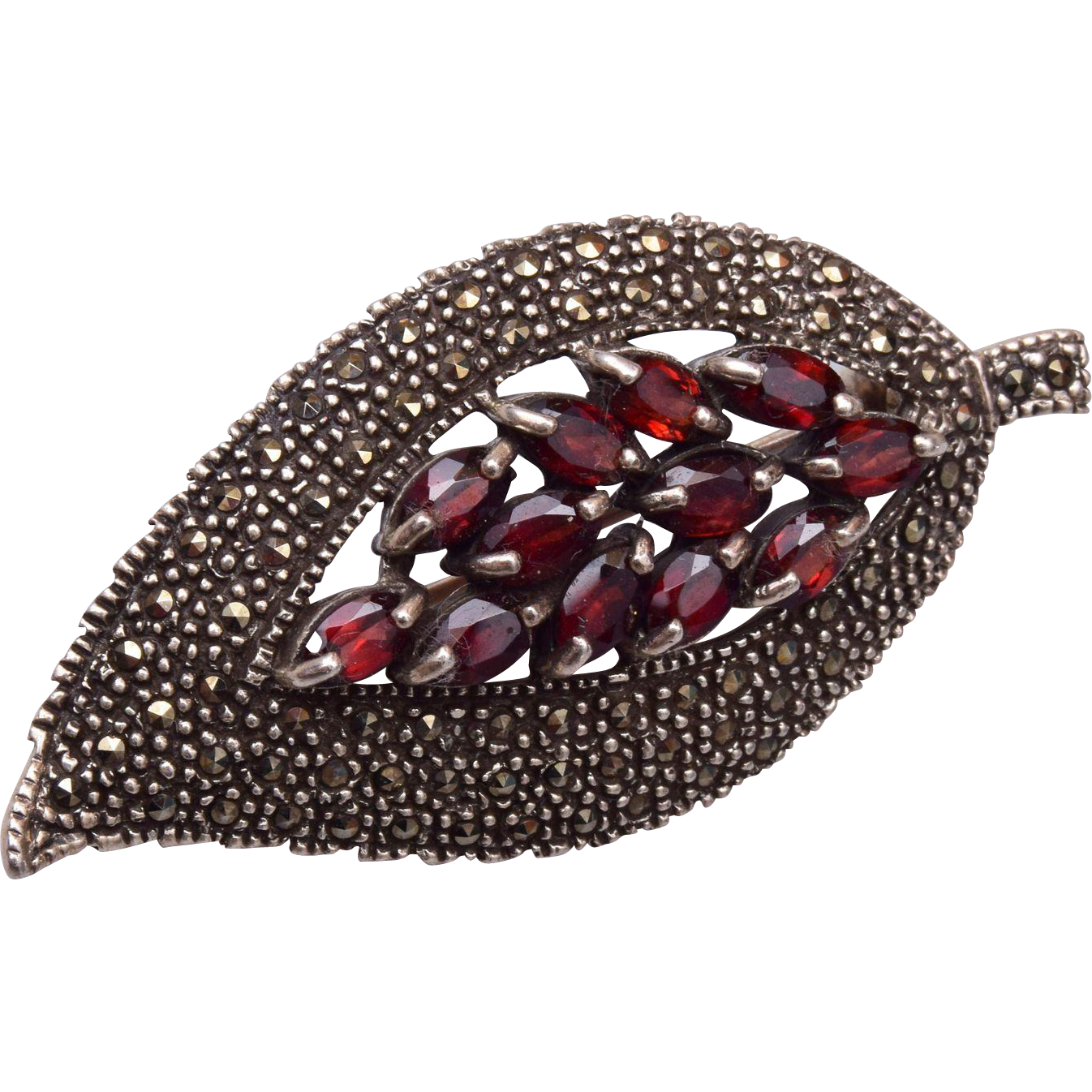 Sterling Marcasite and Garnet Brooch