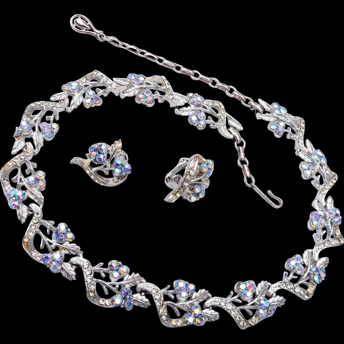 Coro Aurora Borealis Rhinestone Necklace and Earring Set
