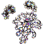 BSK Aurora Borealis Brooch and Earring Set