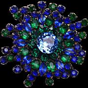 Sandor Green and Blue Well Made Rhinestone Brooch