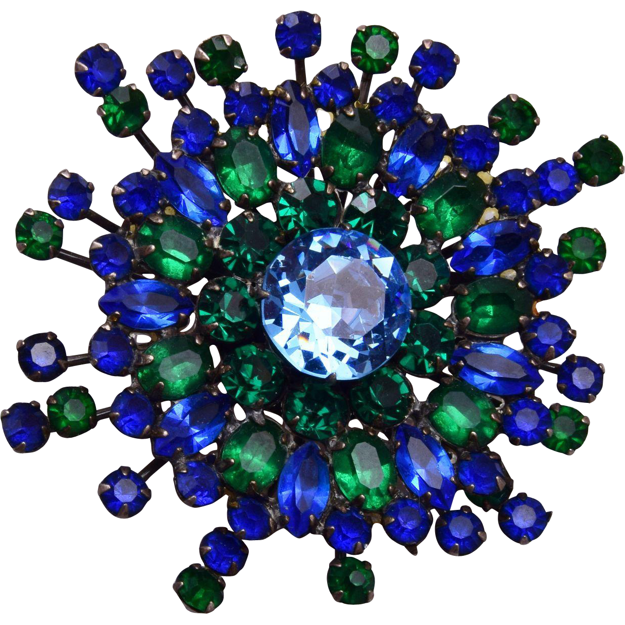 Sandor Green and Blue Well Made Rhinestone Brooch