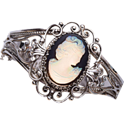 Whiting and Davis Opalescent Glass Cameo Hinged Bracelet