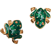 David Hill Green Enameled Frog Earrings