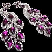 Gorgeous Shoulder Tickling Purple Rhinestone Peacock Pierced Earrings