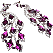 Gorgeous Shoulder Tickling Purple Rhinestone Peacock Pierced Earrings