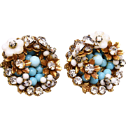 Well Made Turquoise Glass and Rhinestone Earrings