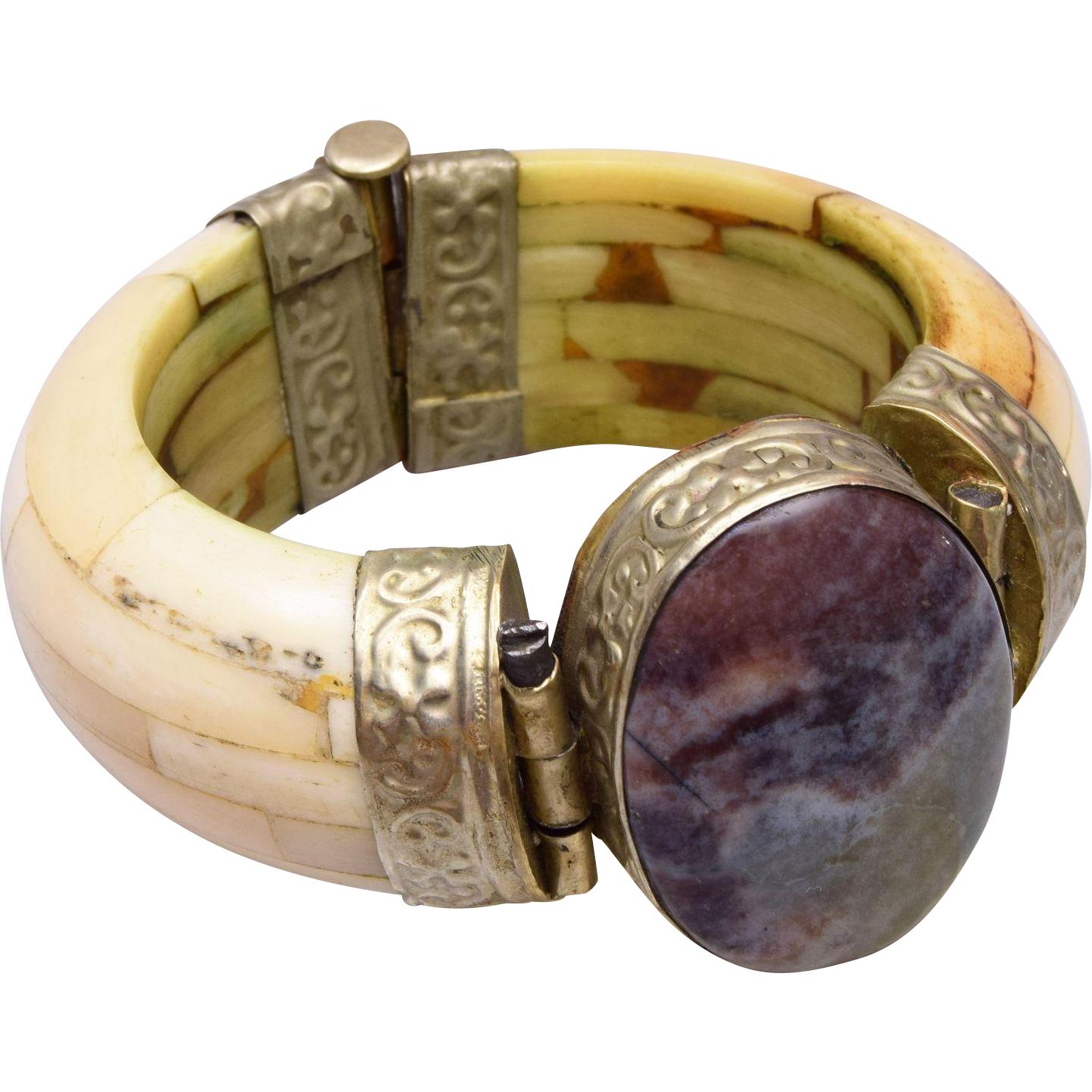 Bone and Stone Hinged Bracelet