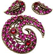 Pink and Red Paisley Brooch and Earring Set