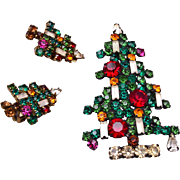 Weiss 6 Candle Christmas Tree Brooch and Earring Set