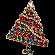 Rhinestone Christmas Tree Brooch With Rhinestone Garland