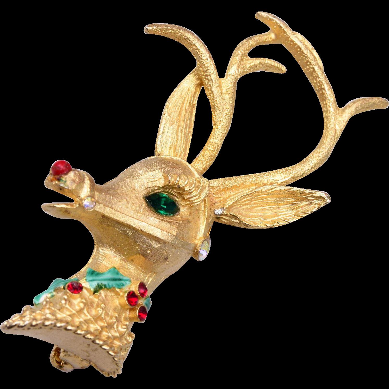 Mylu Christmas Rudolph Brooch