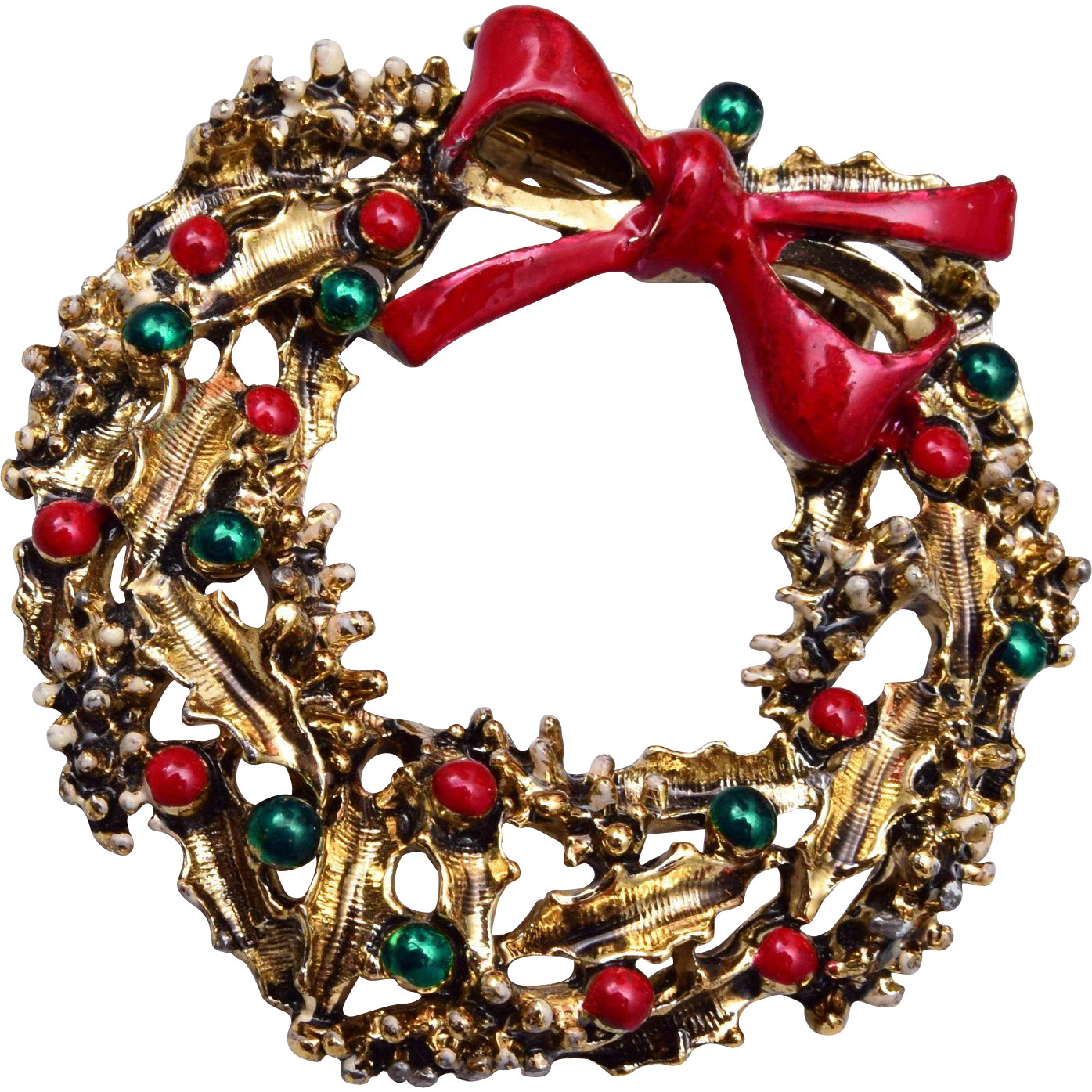 Enameled Christmas Wreath Brooch