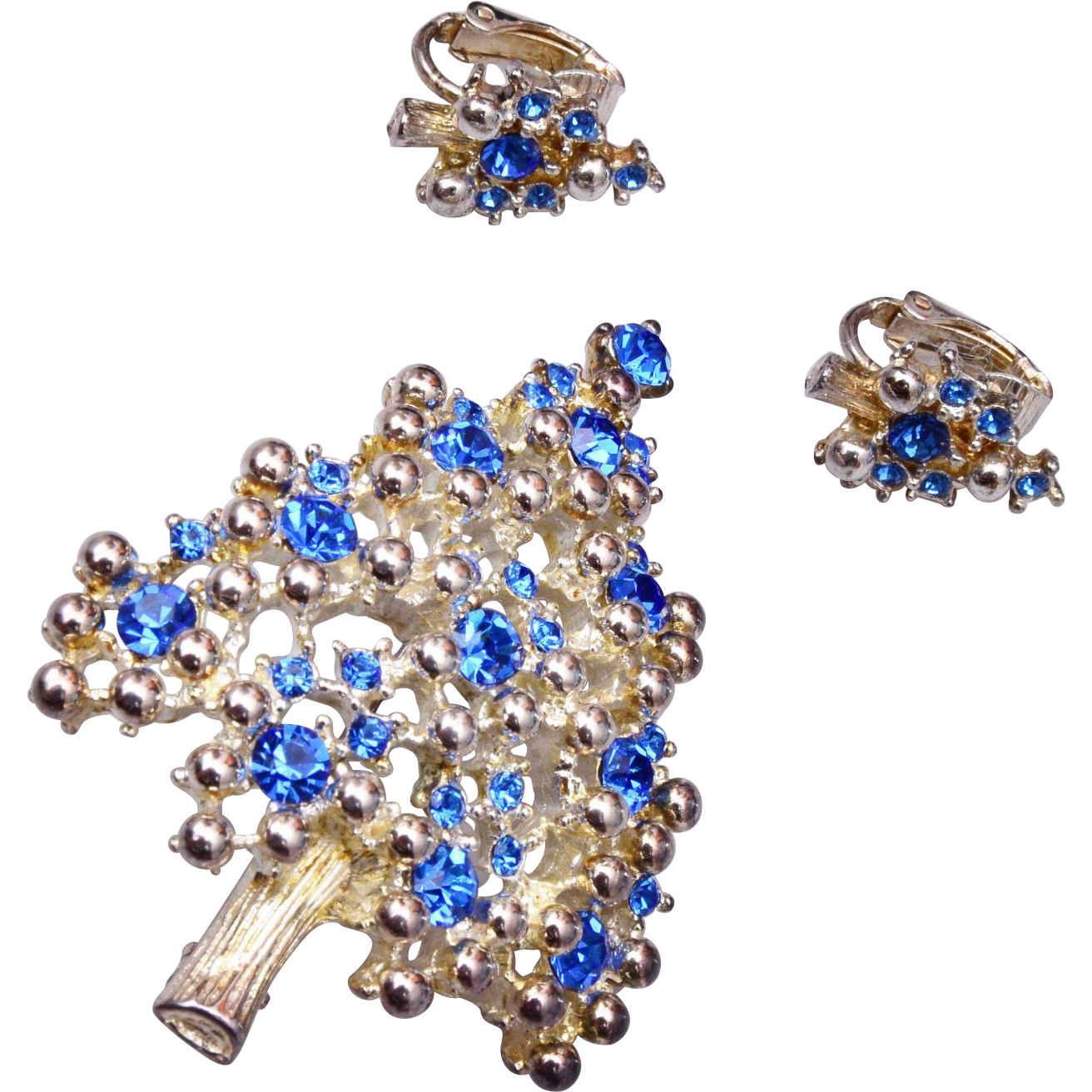 Eisenberg Silver and Blue Christmas Tree Brooch and Earring Set
