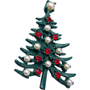 Enameled Green and Red Rhinestone and Faux Pearl Christmas Tree Brooch