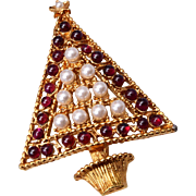 Swoboda Garnet and Faux Pearl Christmas Tree Brooch