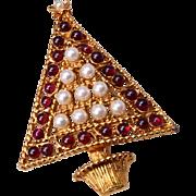 Swoboda Garnet and Faux Pearl Christmas Tree Brooch