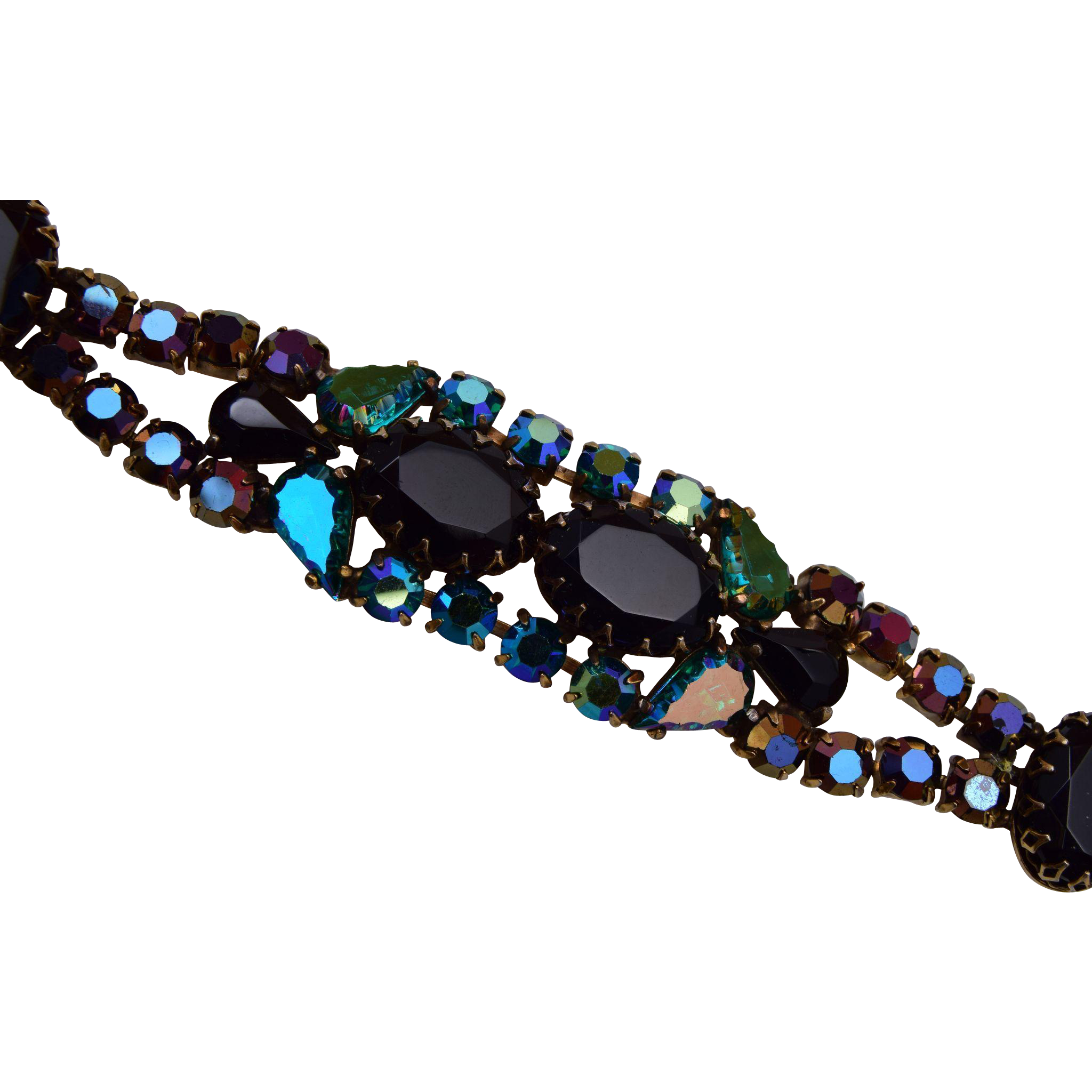 Schiaparelli Black and Green Rhinestone Bracelet