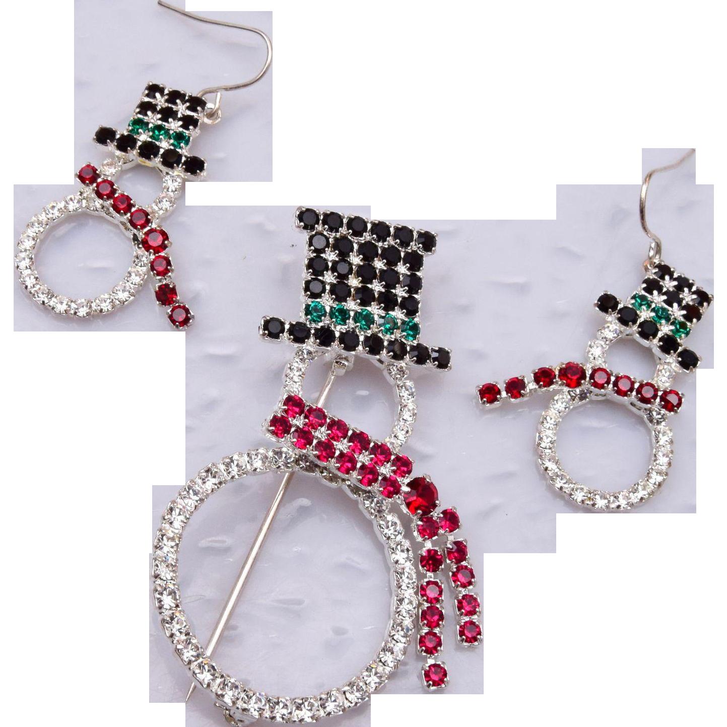 Eisenberg Ice Pierced Earrings and Broch Snowman Set