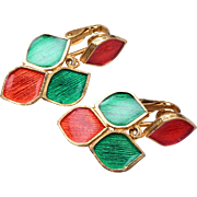 Florenza Red and Green Enameled Earrings