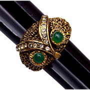 Green Eyed Owl Ring Size 5-1/2 Adjustable