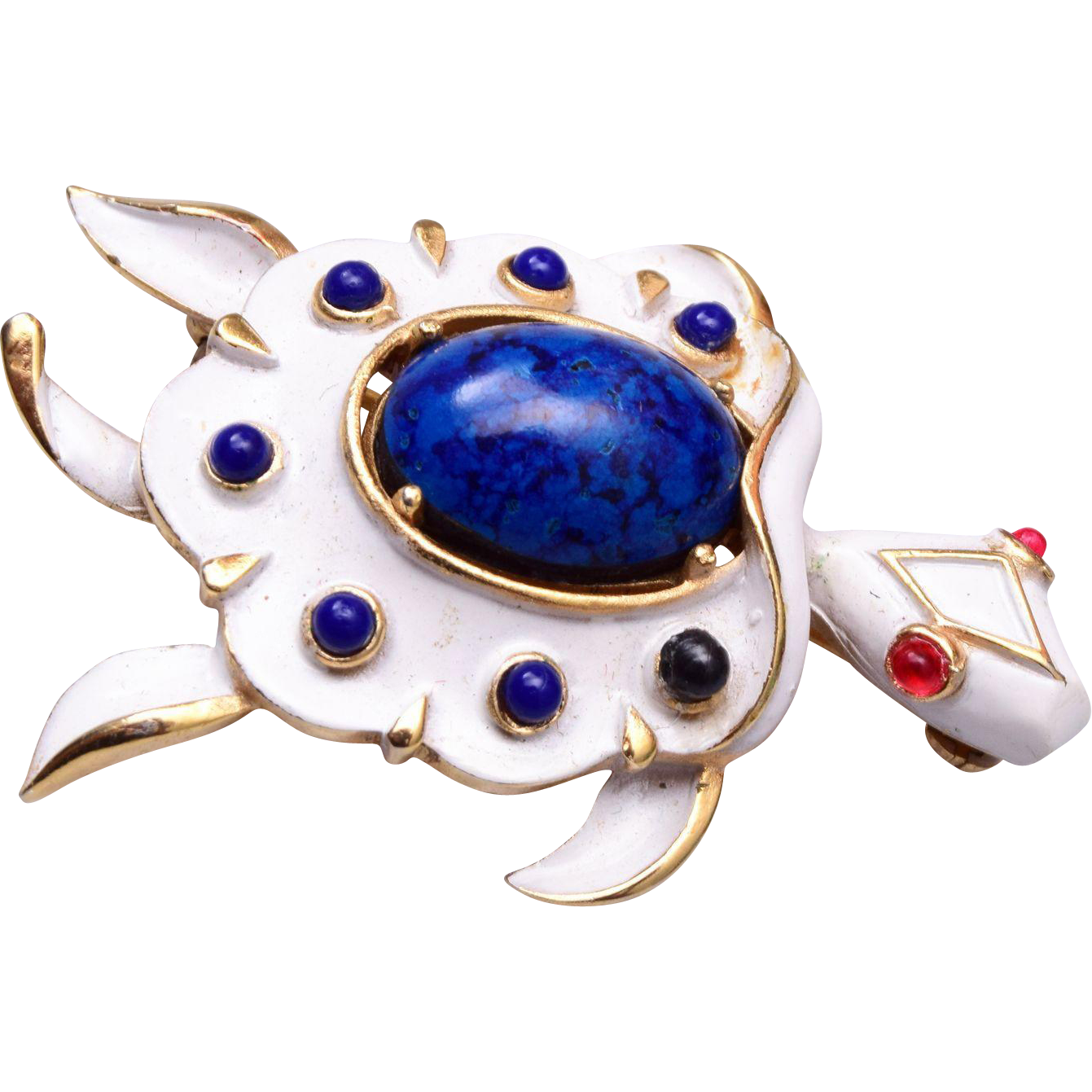 Trifari Blue and White Turtle Brooch