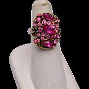Hollycraft Copr 1952 Pink Adjustable Ring