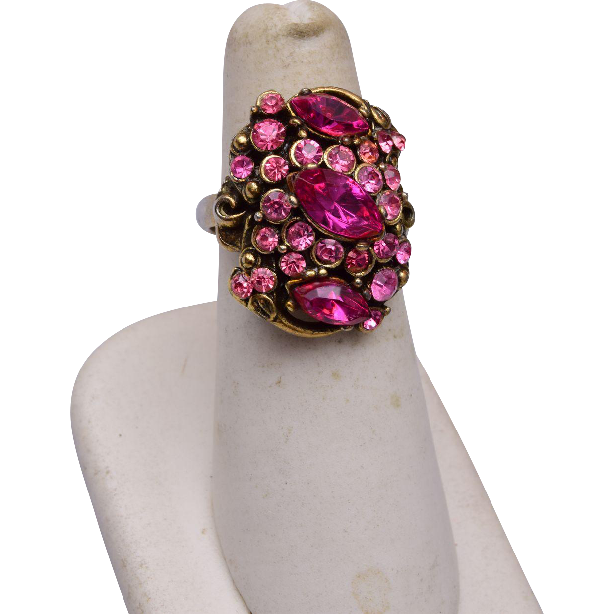 Hollycraft Copr 1952 Pink Adjustable Ring