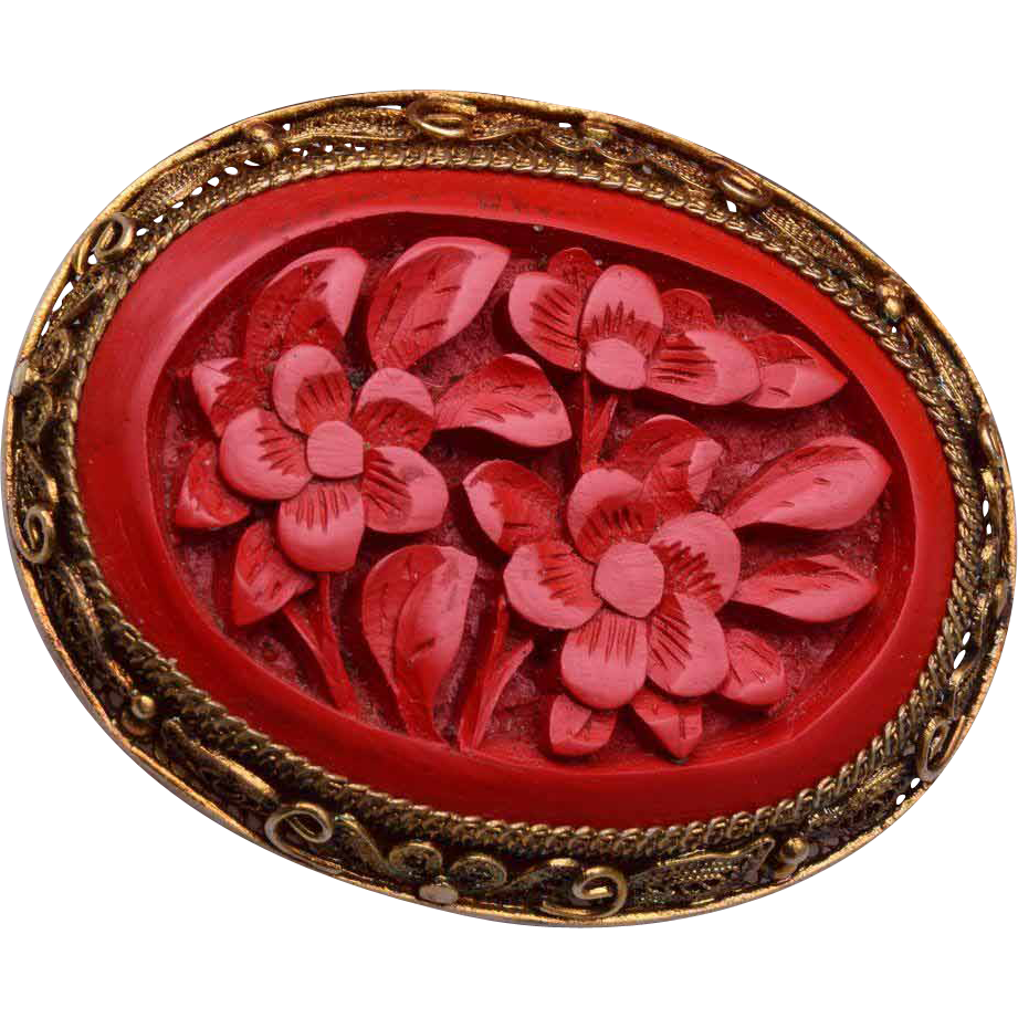 Chinese Silver Filigree and Cinnabar Brooch in Original Box