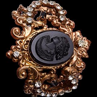 Large Black Cameo Bracelet