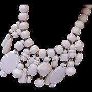 White Lucite Asemetrical Designed Necklace