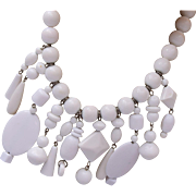 White Lucite Asemetrical Designed Necklace