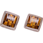 950 Sterling Mexico Tigers Eye Earrings