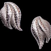 Schiaparelli Silver Leaf Earrings