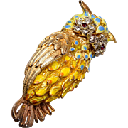 ART Enameled Owl Brooch
