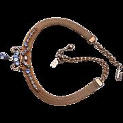 Leo Glass Rhinestone and Mesh Necklace