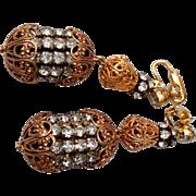Dramatic Castlecliff Rhinestone Dangle Earrings