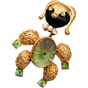 Poodle Trembler Brooch With Molded Glass Belly