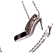 Sterling Silver, Onyx and Marcasite High Heeled Shoe Necklace