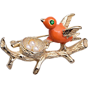 Gerry's Enameled Bird and Nest Brooch