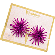 Vendome Purple Star Burst Earrings On Original Card