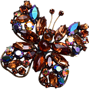 Regency Brown Butterfly Rhinestone Brooch