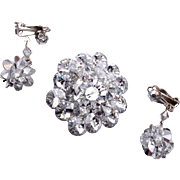 Rivoli Crystal Brooch and Earring Set