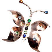 Sterling and Rhinestone Butterfly Brooch
