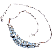 Light Blue Rhinestone and Silver Tone Necklace