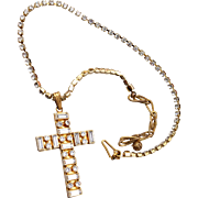 Miriam Haskell Rhinestone Cross Necklace