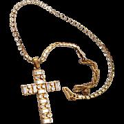 Miriam Haskell Rhinestone Cross Necklace