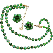 Lisner Molded Green 2 Strand Necklace and Earrings Set