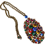 Colorful Czechoslovakian Pendant and Necklace - Red Tag Sale Item