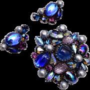 Kramer Blue Lava Crystal Brooch and Earring Set